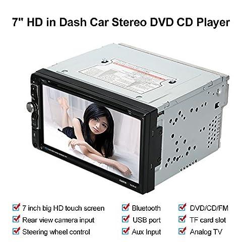 KKmoon Universal 7Zoll 2 Din Car Stereo DVD CD Player Radio Entertainment Multimedia mit HD Touchscreen Unterst¨¹tzt Bluetooth, USB/TF FM-Aux-Eingang-TV¡