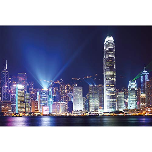 Metropole Ein Licht (GREAT ART XXL Poster - Hongkong bei Nacht - Wanddekoration Deko Stadt City Sightseeing Städte Lichter Wandbild Nachtbild Skyline China Motiv (140 x 100 cm))