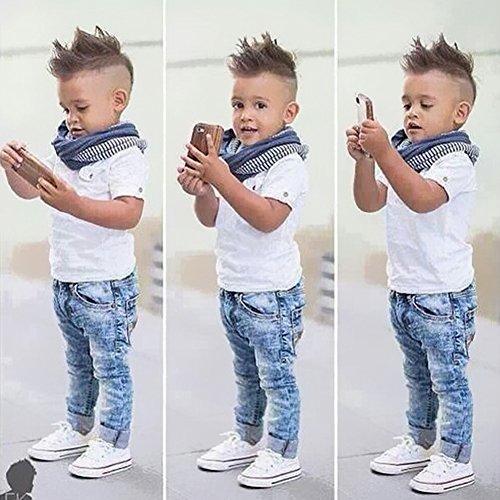 Domybest Boys Cool Summer 3Pcs Kurzarmhemd Denim Jeans und gestreiften Schal 4T -