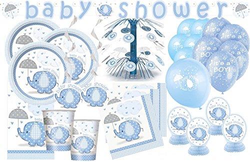 Kids Party World XXL+ 69 Teile Baby Elefant in Blau Babyshower Set für 16 Personen