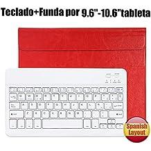 Teclado Bluetooth Español QWERTY Funda ,CoastaCloud Funda Case del Teclado Inalámbrico Magnético Para Cualquier Windows / Android /Apple IOS con 9-10.5 Pulgadas(Tamaño de la tableta adecuada:Min 15x24cm Max 18x26cm) Rojo