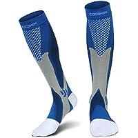 Calcetines de compresión para hombres y mujeres, Fit para deportes, trabajo, vuelo, embarazo, Correr, aumentar la potencia, resistencia, circulación y recuperación, azul