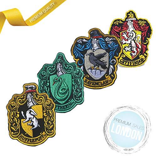 PSL Harry Potter Gryffindor, Slytherin, Hufflepuff, Ravenclaw Wappen zum Aufbügeln, bestickt, 4 verschiedene Teile