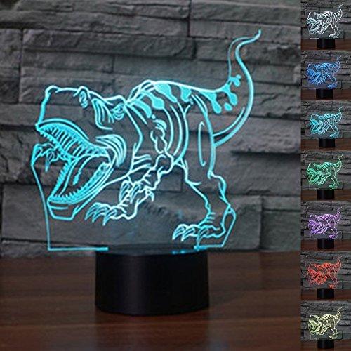 3D dinosaurier Optische Illusions-Lampen, Tolle 7 Farbwechsel Acryl berühren Tabelle Schreibtisch-Nachtlicht mit USB-Kabel für Kinder Schlafzimmer Geburtstagsgeschenke Geschenk (Peanuts Halloween Dekoration)