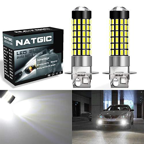 NATGIC H3 LED Ampoules 1800LM 3014SMD 78-EX Jeu de puces pour projecteur antibrouillard, blanc xénon 6500K, 12-24V 4W (pack de 2)