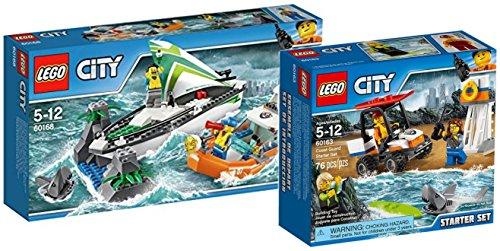 Preisvergleich Produktbild LEGO City 60168 - Segelboot in Not + LEGO City 60163 - Küstenwache-Starter-Set