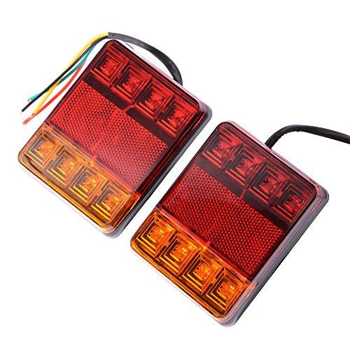 XCSOURCE 2pcs Clignotants 8 LEDs Universels Feux Arrières Lampes Stop / Frein / Arrière / Indicateur Rouge Côté Lumineux et Lampe Jaune pour Van Camion Bus DC 12V MA763