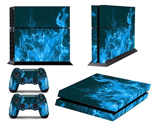 Ps4 pelli playstation 4 vinile adesivi giochi ps4 sistema + due decalcomanie del controller - blue fire