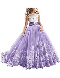 60eba7c87 IWEMEK Princesa Appliques de Encaje Tul Vestido de Niña de Flores Boda  Vestidos de Dama De