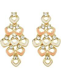 S.A.V.I Rose Gold Color Earrings Chandelier Enamel Rhinestone Drop Earrings For Women