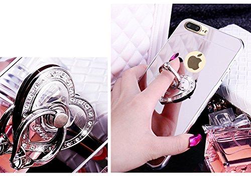 iPhone 8 Plus Hülle,iPhone 7 Plus Hülle,SainCat Luxus Bling Glänzend Glitzer Spiegel Hülle [Weiche Metall Rahmen + Hart PC Rückdeckel] Mirror Effect Spiegel Schutzhülle [Glitzer Diamant Square Ring Fi Liebe-Silber