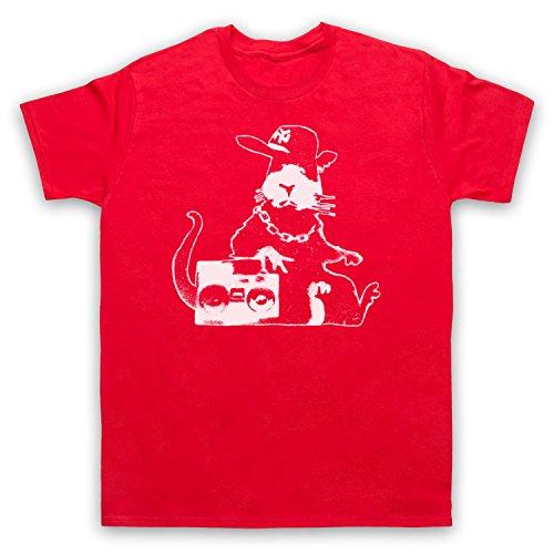 Inspiriert durch Banksy Gangsta Rat Graffiti Street Art Unofficial Herren T-Shirt Rot