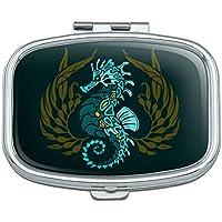 Seepferdchen blau mit Seetang Rechteck Pille Fall Schmuckkästchen Geschenk-Box preisvergleich bei billige-tabletten.eu