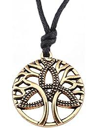 VASSAGO Collar con colgante de árbol de la vida vintage, diseño del talismán con nudo celta