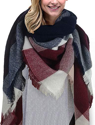comprare popolare ea386 3ee85 Bukely Sciarpa Donna Inverno Donne Inverno Di Grandi Simensioni Signore  Sciarpa Di Cachemire Lattice Grande Sciarpa (Marina Militare)