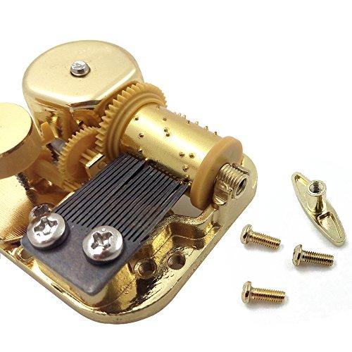 Carillon Movimento placcato oro 18Note vento fino carillon per fai da te, metallo, Gold, Melody: Happy Birthday
