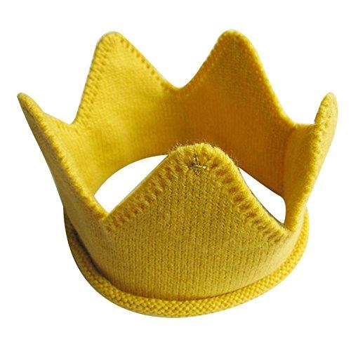 Little Sporter Baby Strickmütze Krone Fotografie Prop Hut Crown Strick Stirnband Hut warme Winter stricken Stirnband Spaß Spielzeug Gelb -