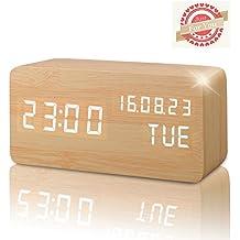 Sveglia Digitale Colore Legno Naturale con Orario Tempo Data e Temperatura Display a LED, Sensore del Suono per l