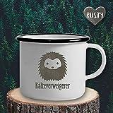The Manufacture Kälteverweigerer Winter Tee Kaffee Emaille Becher Tasse als Geschenk, weiß Frau Frieren Wärme Geburtstag Weihnachten