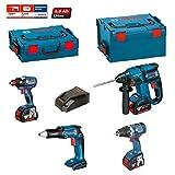Kit Bosch ECL4P3BE (GDX 18 V-EC + GSR 18 V-EC TE + GSR 18 V-EC + GBH 18 V-EC + Ladegerät AL1860CV + 3 Akkus 5,0 Ah + Koffer L-Boxx 136 + Koffer L-Boxx 238)