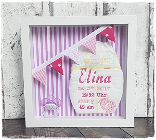 ♥ bestickte Windel im Rahmen als Andenken (rosa) (Bild Ideen Baby Newborn)