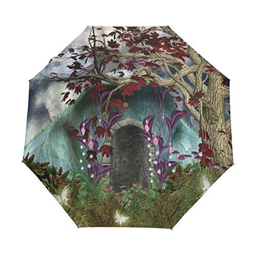 Duilly ombrello automatico apri/chiudi,fantasy mystical tree anime mygical butterfly full moon porta di legno nel giardino fatato hallo gotico,ombrello pieghevole pieghevole antivento