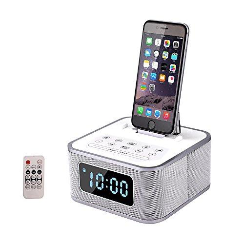 Mettime Docking Station Drahtloser Bluetooth Lautsprecher Doppelter Wecker UKW-Radio Freisprechen Mit Fernbedienung Ladestation Lightning für iPhoneX/8/8 plus/7 plus/7/6s/6/6/plus/5S/5c , white