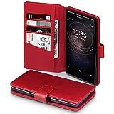 Terrapin, Kompatibel mit Sony Xperia L2 Hülle, [ECHT LEDER] Brieftasche Case Tasche mit Standfunktion Kartenfächer und Bargeld - Rot EINWEG