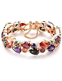 Jewels Galaxy Splendid Luxuria Sparkling Multicolor Vine AAA Swiss Cubic Zirconia 24K Rose Gold Plated Sparkling Bracelet for Women/Girls