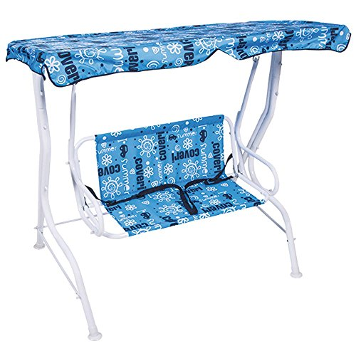Bakaji bascule pour enfants balançoire de jardin 2 places Baby en acier et Oxford avec pare-soleil 111 x 71 x 117 cm bleu
