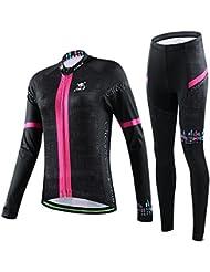hebike crâne filles/femmes de vélo de vélo à manches longues Jersey + Set 3D rembourré longue tenue respirant à séchage rapide