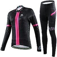 Hebike Totenkopf Mädchen/Damen Fahrrad Long Sleeve Jersey Set + 3D gepolstert lang Outfit atmungsaktiv schnelltrocknend Set