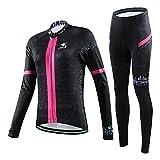 hebike Totenkopf Mädchen/Damen Fahrrad Long Sleeve Jersey Set + 3D gepolstert lang Outfit atmungsaktiv schnelltrocknend Set Jersey + Pants M