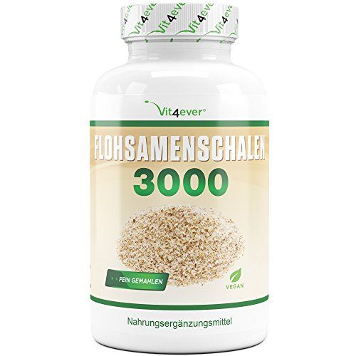 Flohsamenschalen - 360 Kapseln - 3000 mg pro Tagesportion - 100% Psyllium Husk - Flohsamen fein gemahlen - Laborgeprüft - Vegan - Premium Qualität - Vit4ever