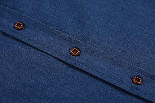 Coofandy Herren Jeanshemd regular fit hemd Denim Langarmhemd Cowboy-Style Freizeit Azurblau