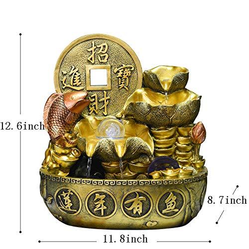 Skulpturen Tischbrunnen,Tischplatte dekorativ Schatz Topf Wasser Dekoration Lotus-brunnen Feng Shui Rad zu rekrutieren Indoor Umschlag Kugel Haushalt Dekorationen Business-Geschenk-A 12.6Zoll