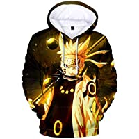 EUDOLAH Men's 3D Printed Hoodies Sweatshirt with The Japanese Anime Naruto Cosplay Costume Outerwear Golden Hair-a1 L