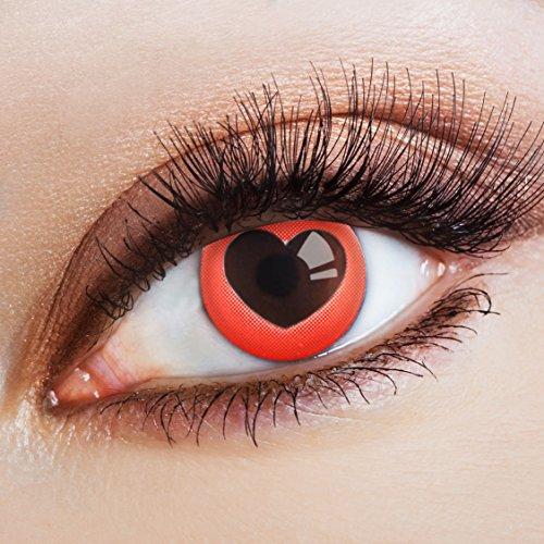 aricona Farblinsen Farbige Kontaktlinse Heart   - Deckende Jahreslinsen für dunkle und helle Augenfarben ohne Stärke, Farblinsen für Karneval, Fasching, Motto-Partys und Halloween Kostüme