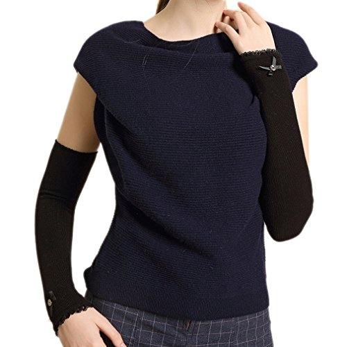 ELE GENS Damen Fingerlos Armwärmer Armstulpen Handschuhe gestrickt Lang Lace Baumwolle Schwarz - 2