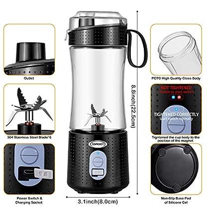 TOPESCT-Tragbarer-Mixer-fr-Smoothies-und-Shakes-Sechs-Klingen-in-3D-Anordnung-fr-hervorragendes-Mixen-13oz-USB-Wiederaufladbarer-Juicer-4000mAh-Leistungsstarker-Obstmixer-Black