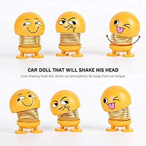 Fancy Shoppee Dashboard Decoration for Car, 6pcs Car Interior Decoration Accessories, Funny Facial ExpressionShaking Head Dolls for Car Dashboard Ornaments, Gifts