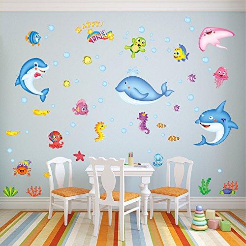 GOUZI Kreative Aufkleber Cartoon Kinder- dekorative Wand Papier dolphin Kreative niedliche Sticker 50 * 70 herausnehmbare Wand Aufkleber für Schlafzimmer Wohnzimmer Hintergrund Wand Bad Studie Friseur Dolphin Papier