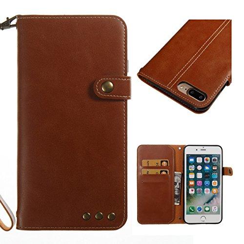 GrandEver iPhone 8 Plus Hülle, iPhone 7 Plus Hülle Gute Qualität Lederhülle Schutzhülle mit Kartenfach Handschlaufe Ledertasche Retro Tasche Scratch PU Leder Ledercase Schale Umschlag Stil Wallet Case Braun