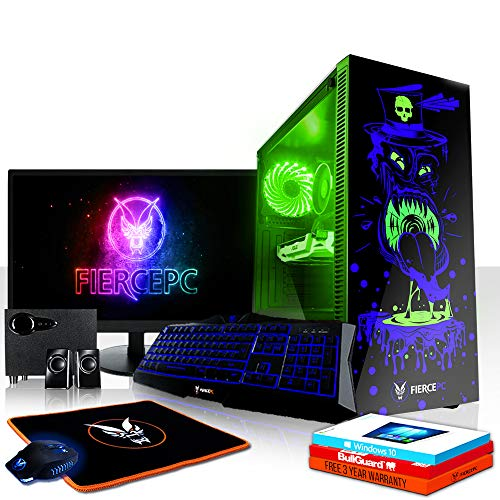 Fierce Gobbler RGB Gaming PC Bundeln - Schnell 4.1GHz Hex-Core Intel Core i5 8500, 1TB HDD, 16GB, NVIDIA GeForce GTX 1050 2GB, Win 10, Tastatur (VK/QWERTY), Maus, 24-Zoll-Monitor, Lautsprecher 878659