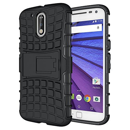 ImagineDesign™ Defender Tough Hybrid Armour Shockproof Hard PC + TPU with Kick Stand Rugged Back Case Cover for Moto G Plus, 4th Gen - Black