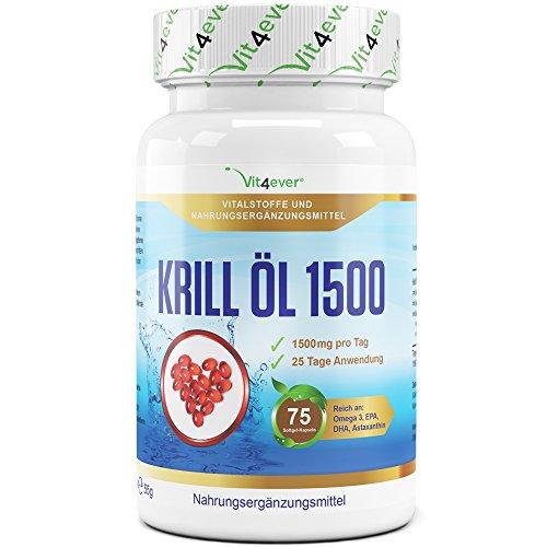 Krill Öl 1500 - 75 Softgel Kapseln - Hochdosiert mit 1500 mg pro Tag - Reich an EPA, DHA, Astaxanthin, Phospholipide und Omega 3 Fettsäuren, Antarktis Krillöl in Premium Qualität - Vit4ever