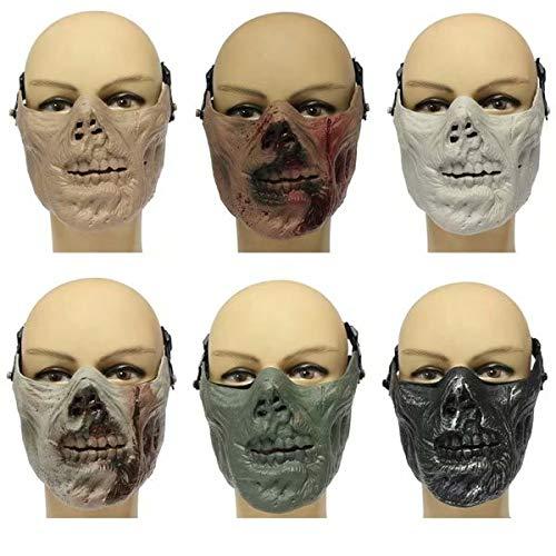 Kungfu Mall Zombie Skull Skelett Halbmaske Militär Jagd Halloween Kostüm Party Zombie(Light - Zombie Militär Kostüm
