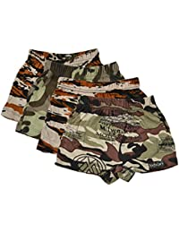BODYCARE Pure Cotton Multi-Coloured Military Trunk for Boys & Kids (315-Packof4)