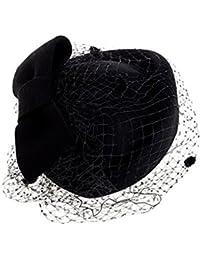 Tocado de cóctel para el cabello, con clip y lazo, de lana, para boda y fiestas, estilo retro, con tul, para mujer negro Negro  talla única