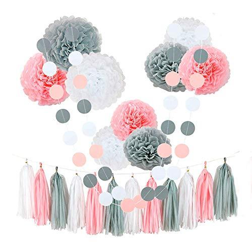 ompoms, Blumen, Seidenpapier, Quaste, für Geburtstag, Baby-Party,Hochzeitsdekoration, 20,3 cm, 25,4 cm, 35,6cm, 20Stück Pink,white,grey ()